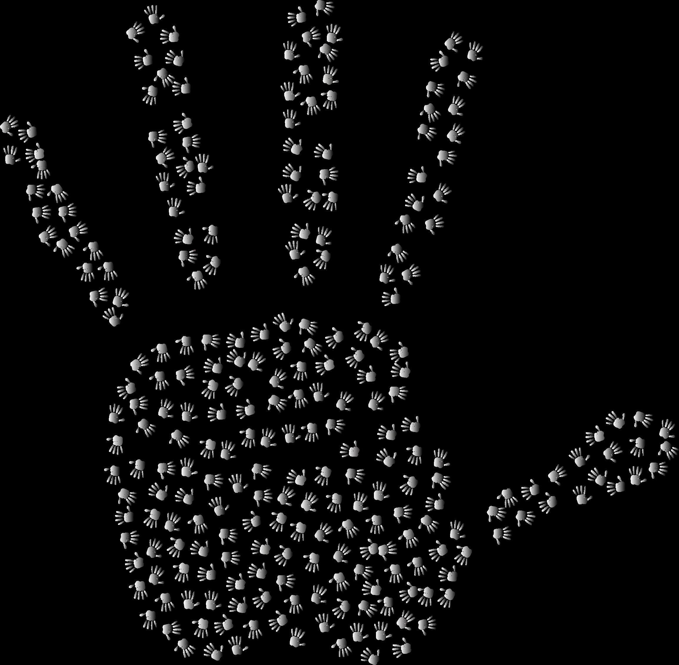 Prismatic fractal big image. Handprint clipart over rainbow