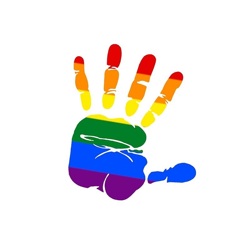 Pride flag by ben. Handprint clipart over rainbow