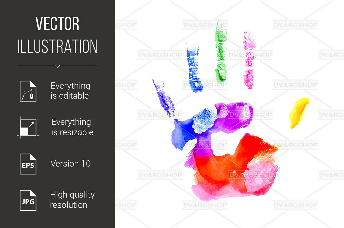 Handprint clipart over rainbow. In vibrant colors of