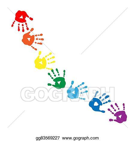 Handprint clipart over rainbow. Vector art abstract pattern