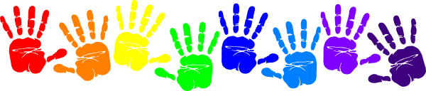 Rainbow clip art handprints. Handprint clipart paint