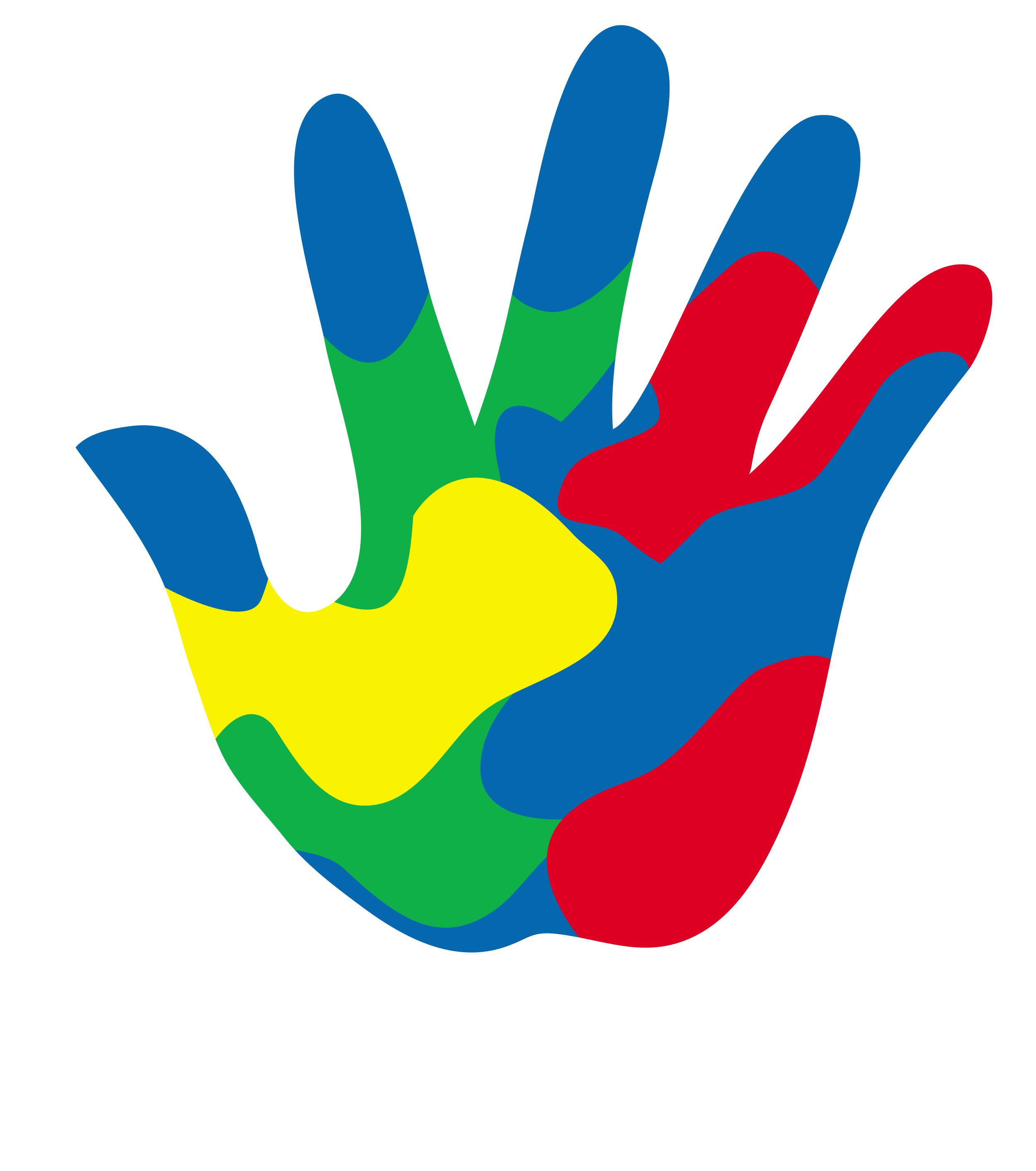 Student classroom group discussion. Handprint clipart rainbow