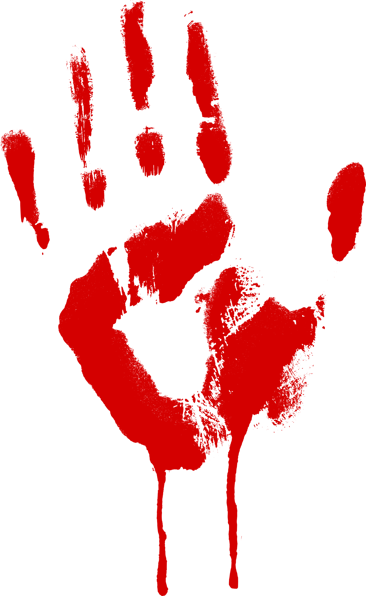 Free photo red hand. Blood smear png