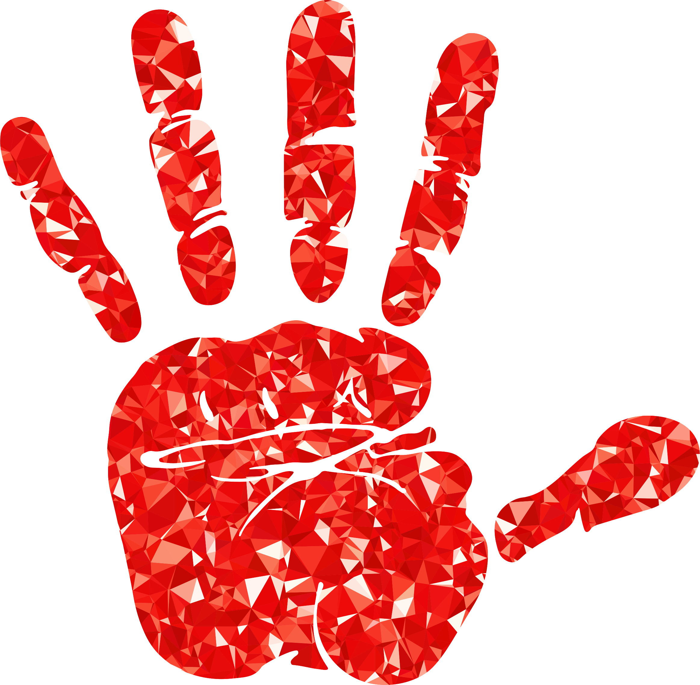 Ruby silhouette big image. Handprint clipart red