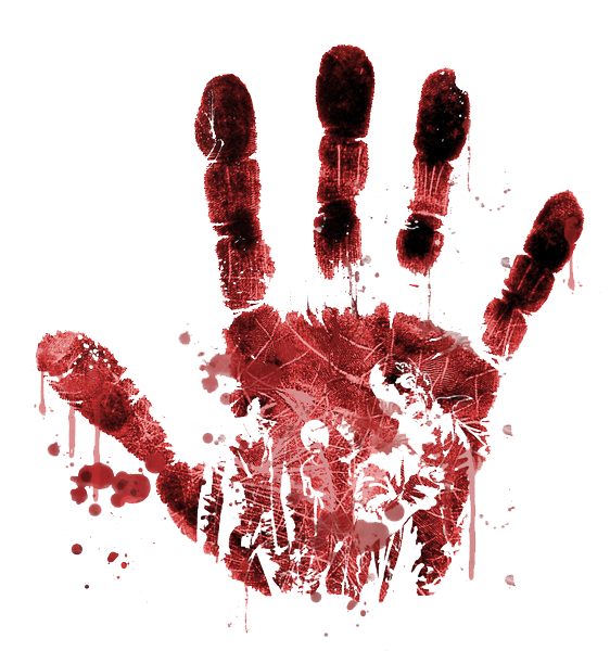 Anime blood png. Handprint clipart transparent background