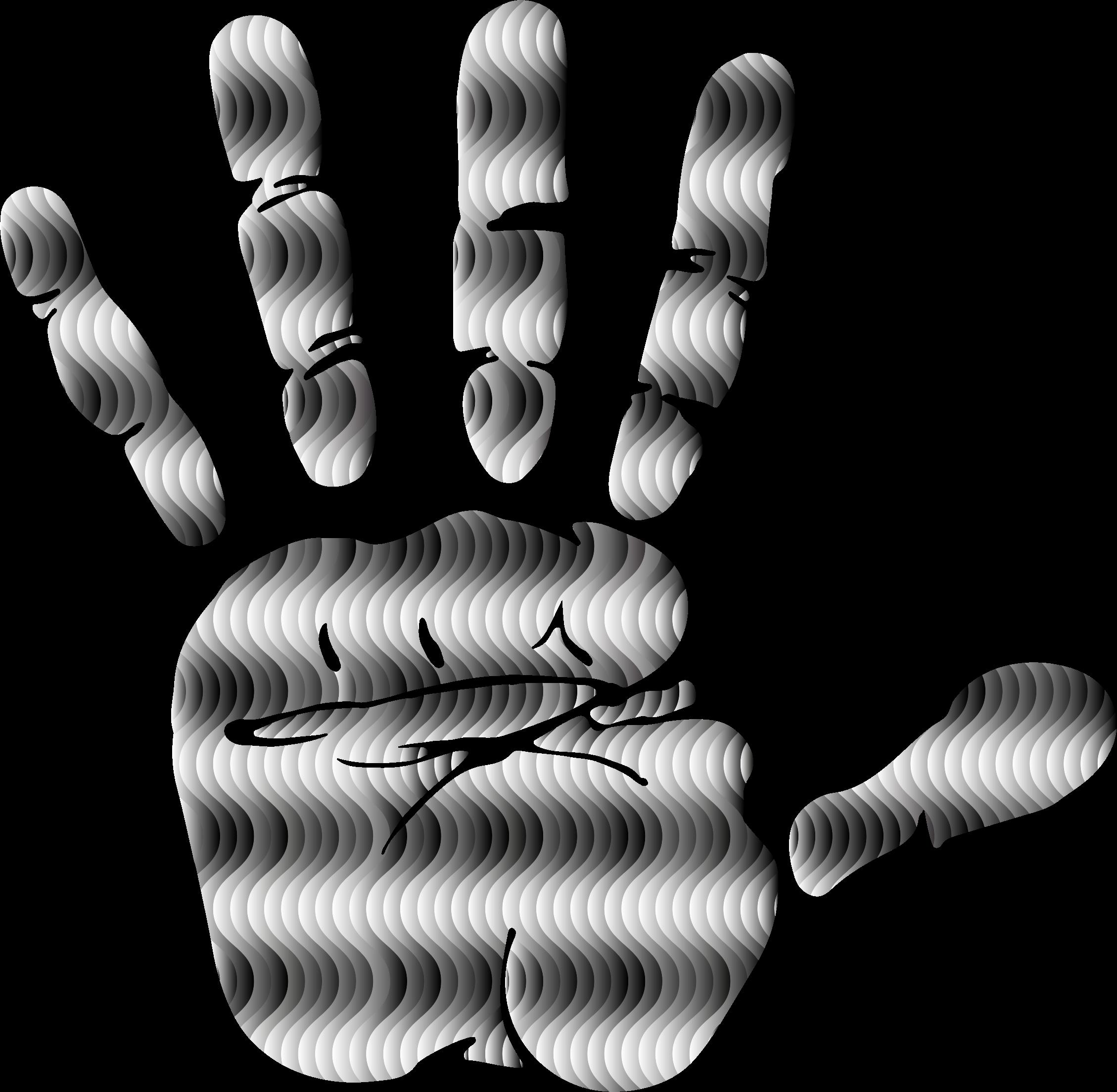 Waves clipart silhouette. Prismatic handprint big image