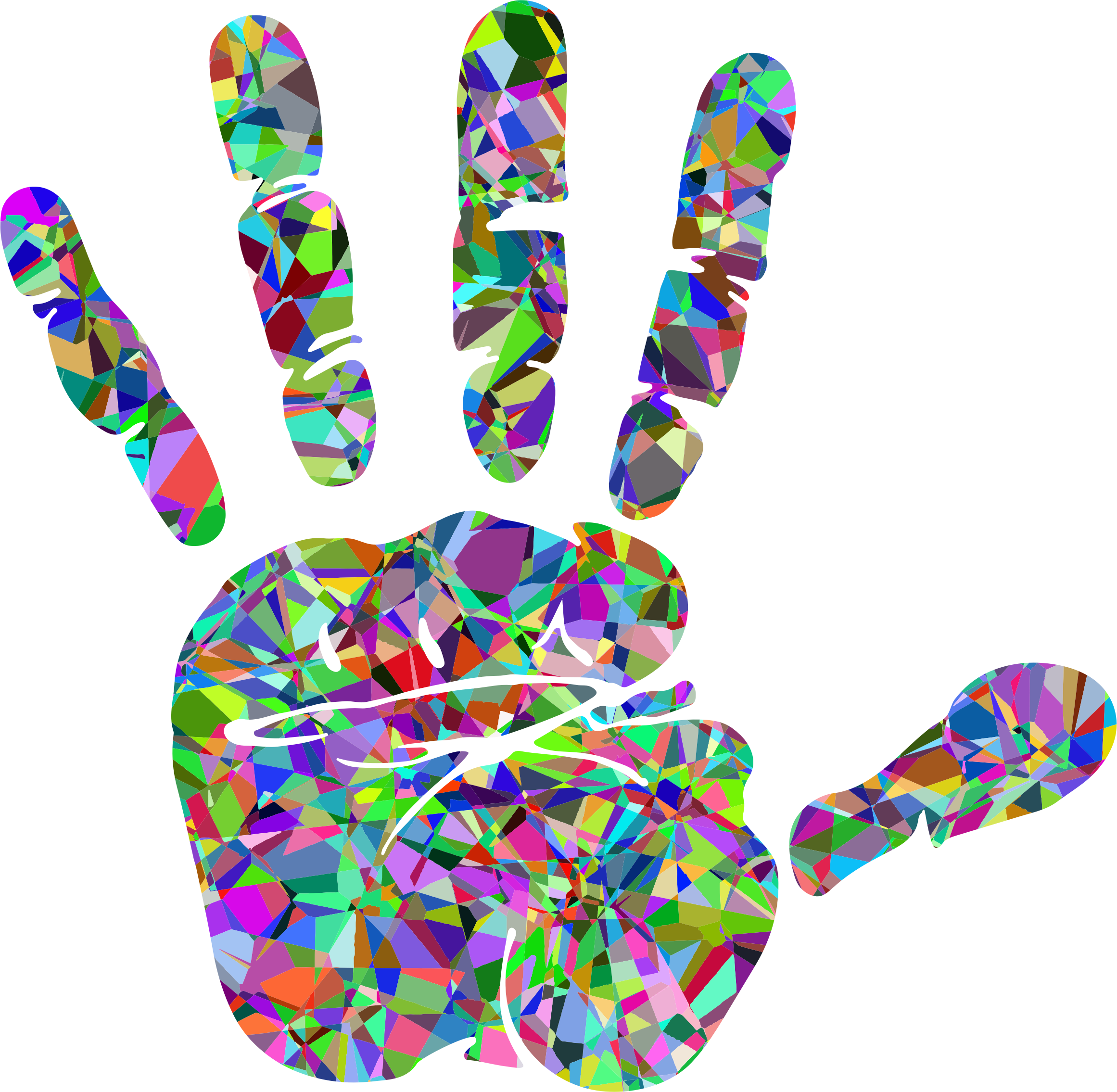 Technicolor big image png. Handprint clipart silhouette