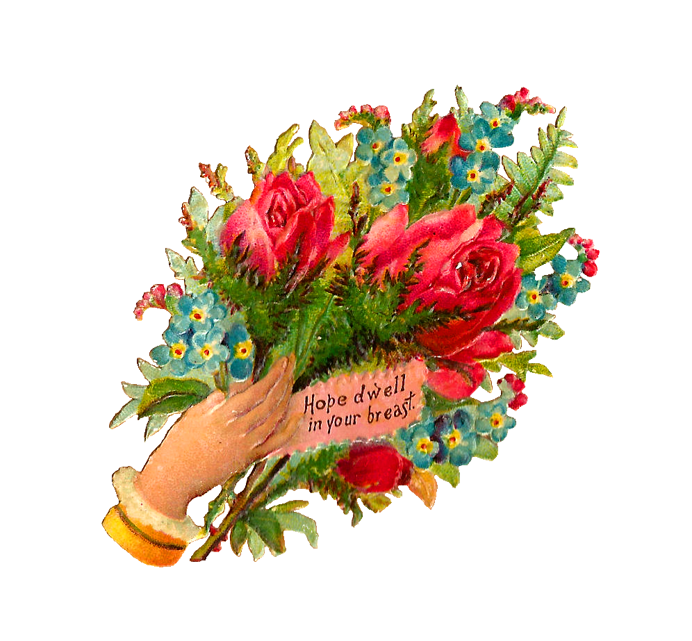 Hope clipart flower. Antique images free bouquet