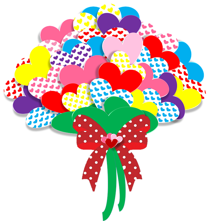 Forgetmenot papers paper hearts. Hands clipart bouquet