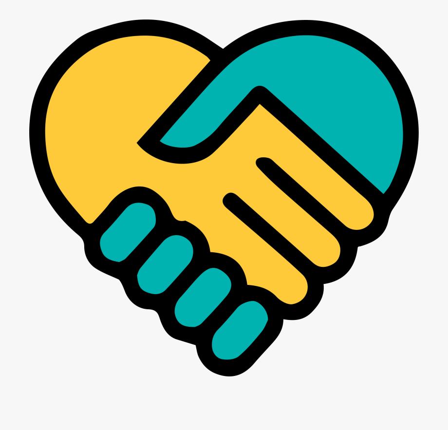 Yellow blue holding heart. Hands clipart logo