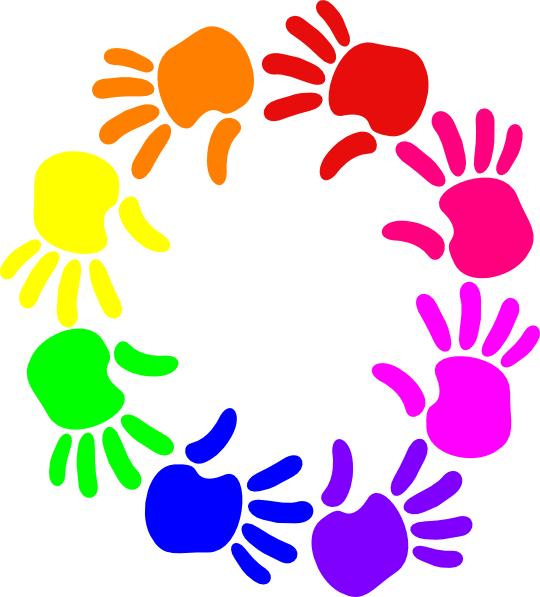Hands clipart plant. Colorful circle of clip