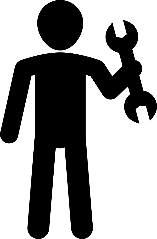 Hands clipart wrench. Male silhouette holding svg
