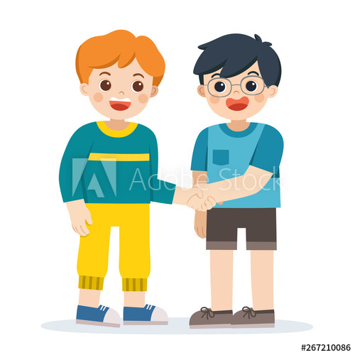 Happy standing and shaking. Handshake clipart boys