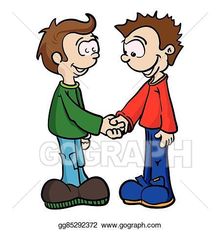Eps illustration two shaking. Handshake clipart boys