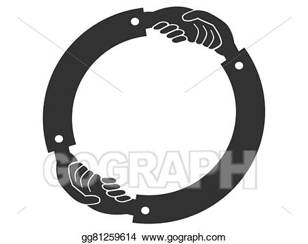 Handshake clipart circle. Eps vector logo stock