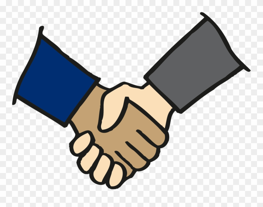 Two hands clasped color. Handshake clipart colorful