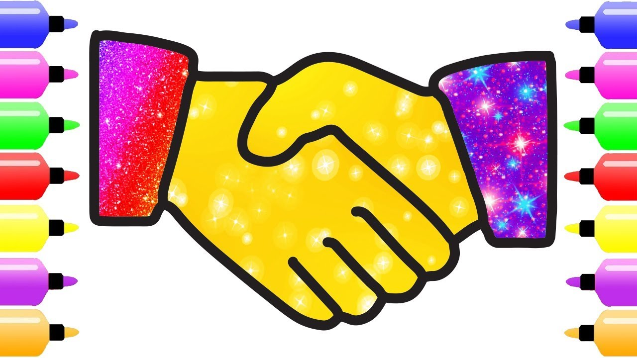 Handshake clipart colorful. Glitter coloring pages for
