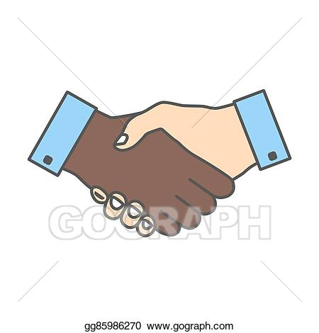 Handshake clipart colorful. Vector illustration icon colored