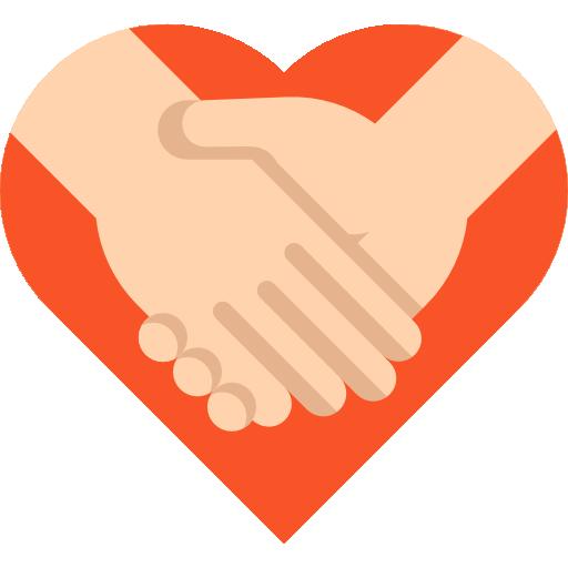 Heart gesture red hand. Handshake clipart commitment