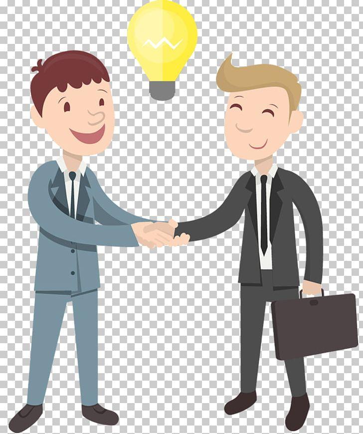 Cartoon businessperson png animation. Handshake clipart communication