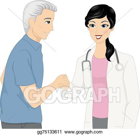 Handshake clipart doctor. Vector art patient drawing
