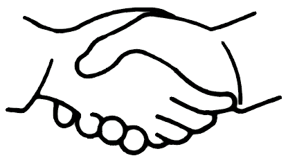 Simple bw lessons in. Handshake clipart drawn