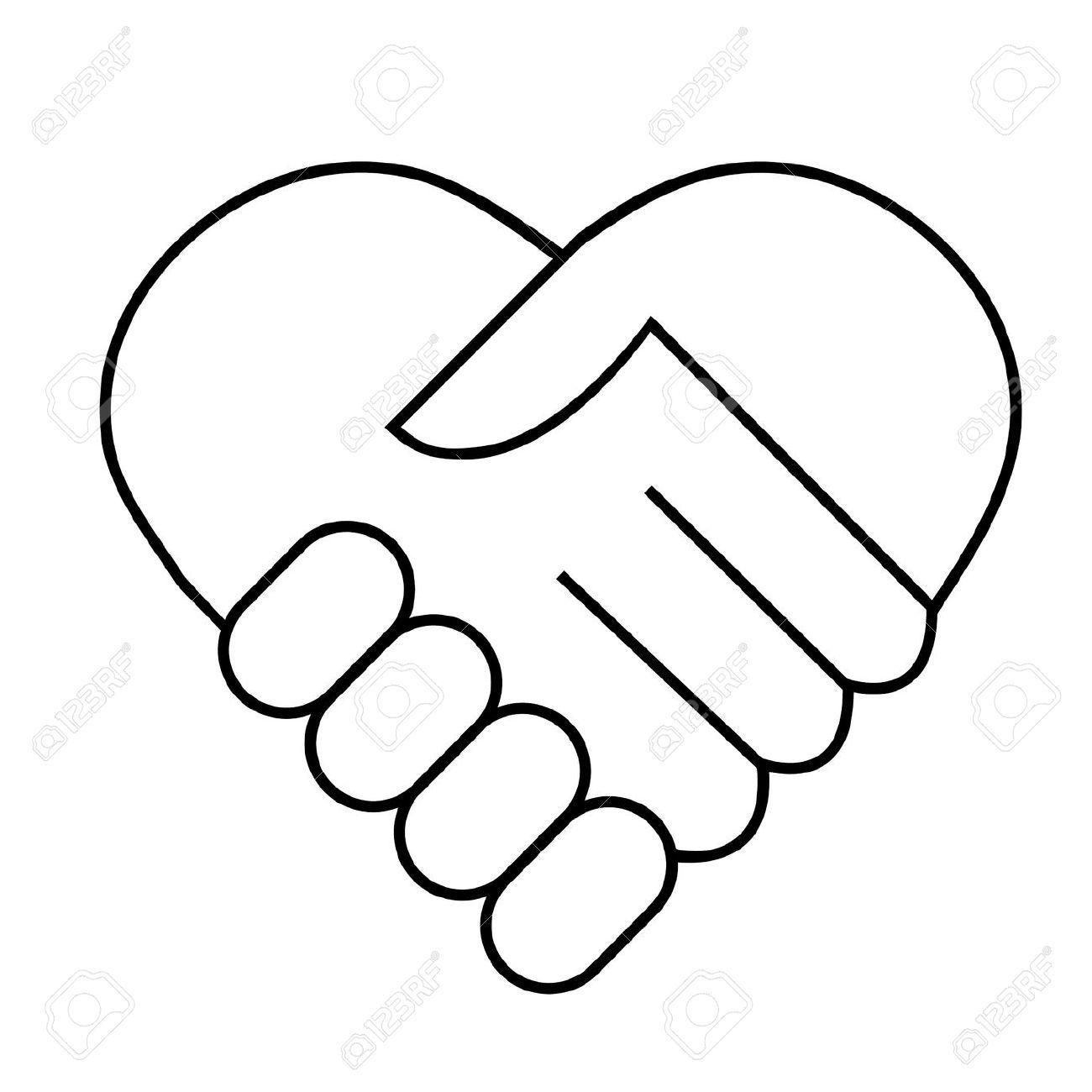 Hand we are family. Handshake clipart heart