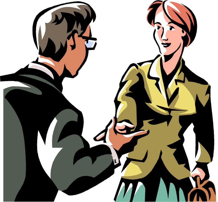 Workers introduced with vector. Handshake clipart introduction