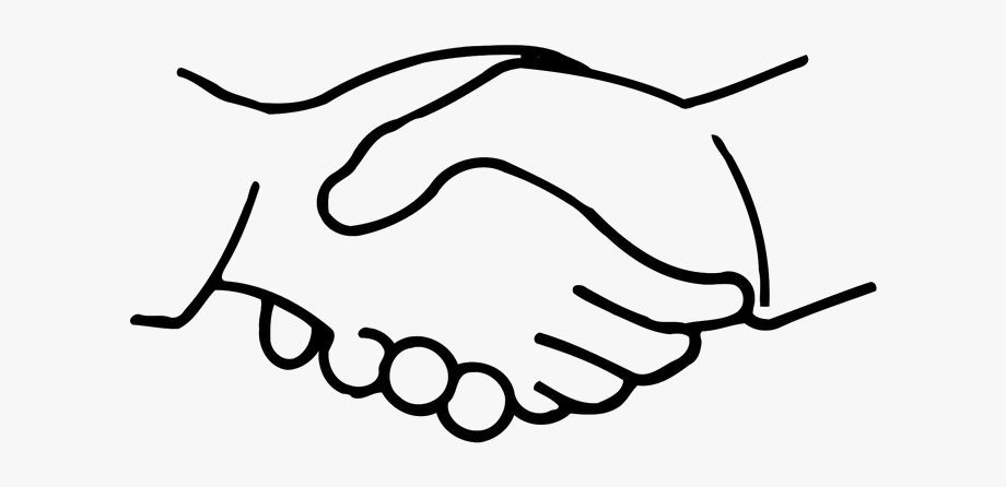 Handshake clipart line art. Cartoon clip hand transprent