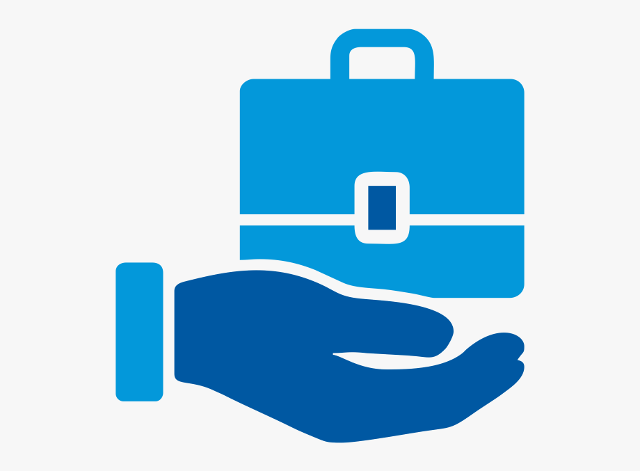 Hand holding bags icon. Handshake clipart micro finance
