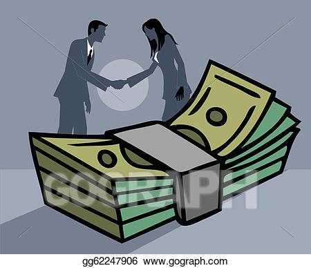 Handshake clipart money. A businessman and businesswoman