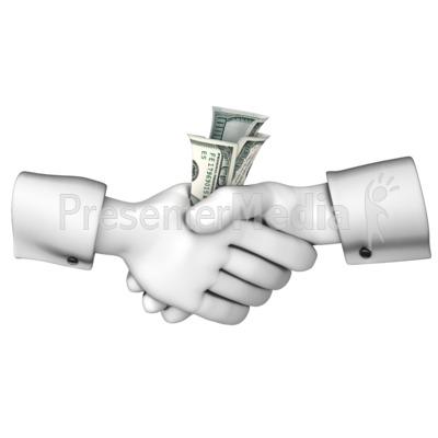 Exchange business and finance. Handshake clipart money