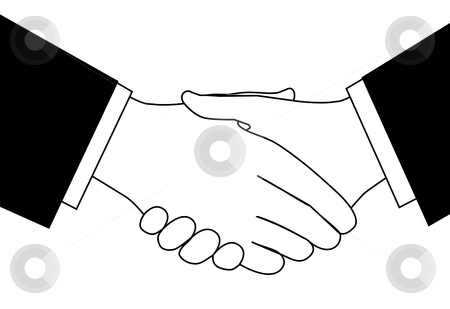 Sketch of business in. Handshake clipart new deal
