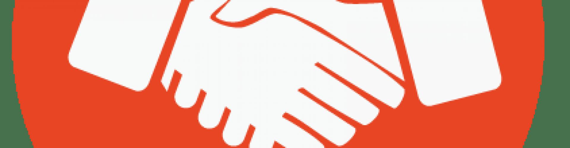 Cropped png fake id. Handshake clipart orange