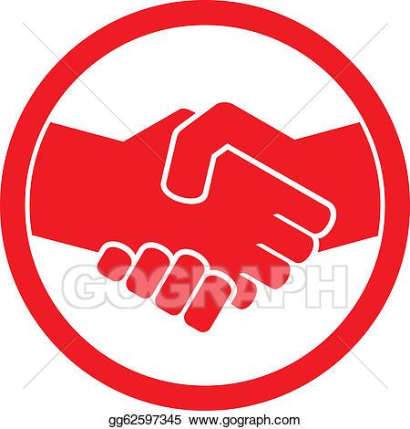 Vector stock symbol emblem. Handshake clipart red