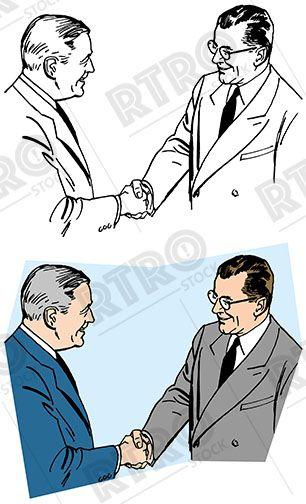 Handshake clipart retro. Two businessmen making a