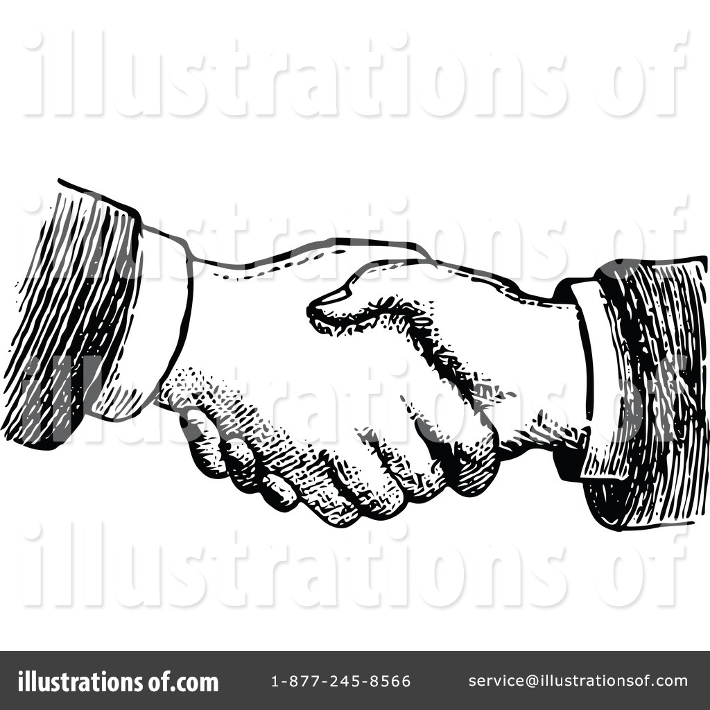 Illustration by prawny vintage. Handshake clipart retro
