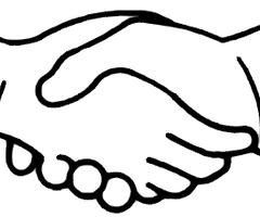Handshake clipart simple. Bw public panda free