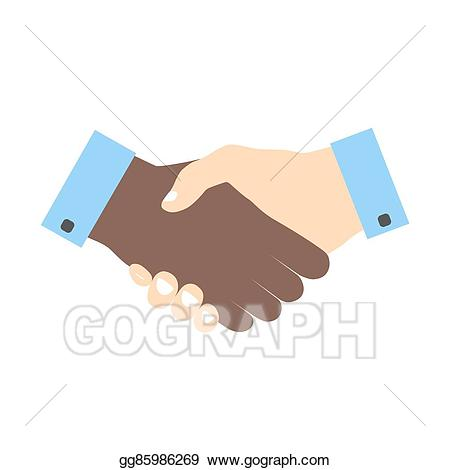 Vector illustration icon colored. Handshake clipart skin to skin