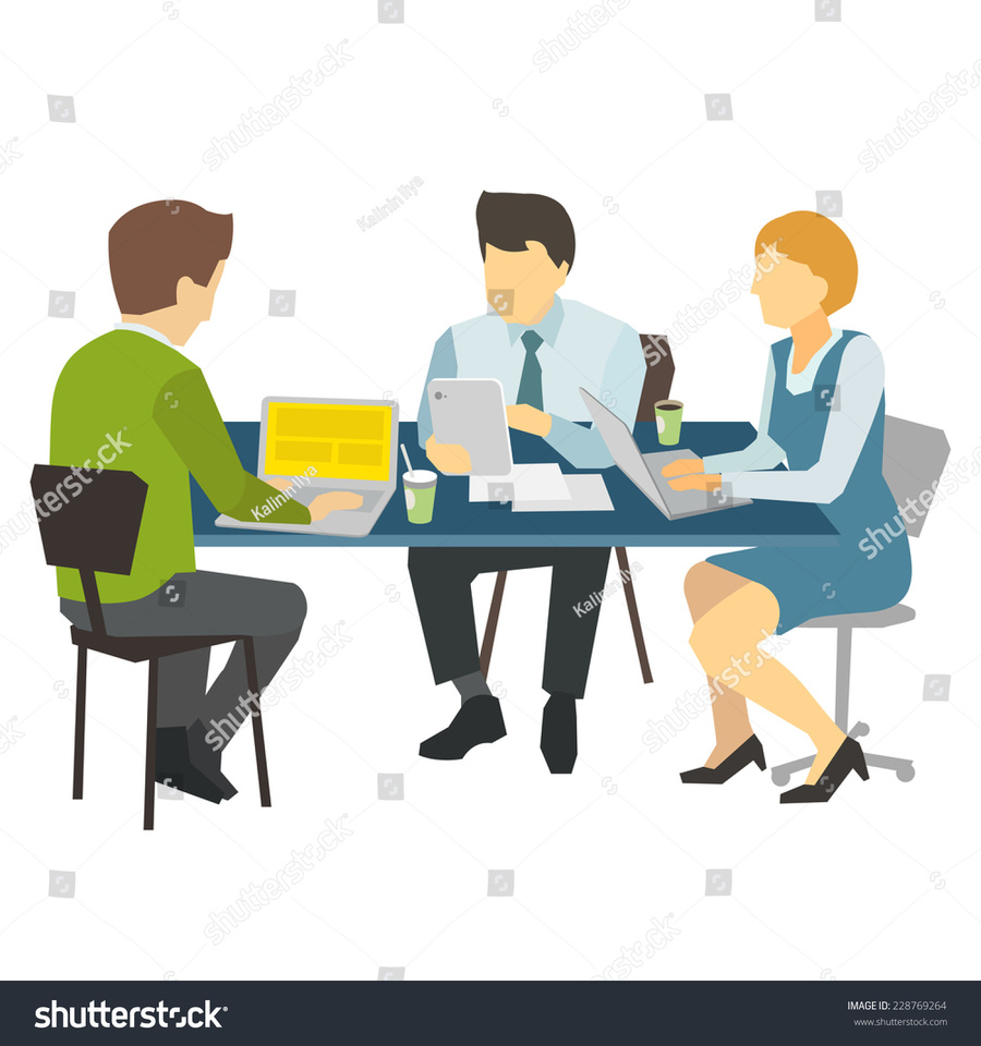 Handshake clipart table. Download three people interaction