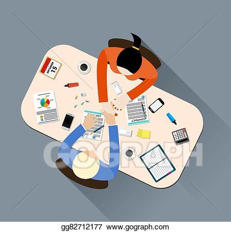 Handshake clipart table. Vector art business partner