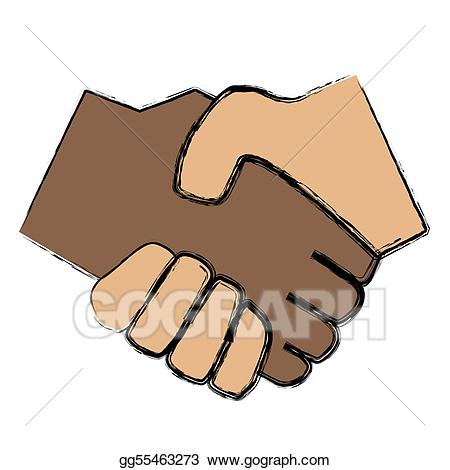 Stock illustration mutual drawing. Handshake clipart trust