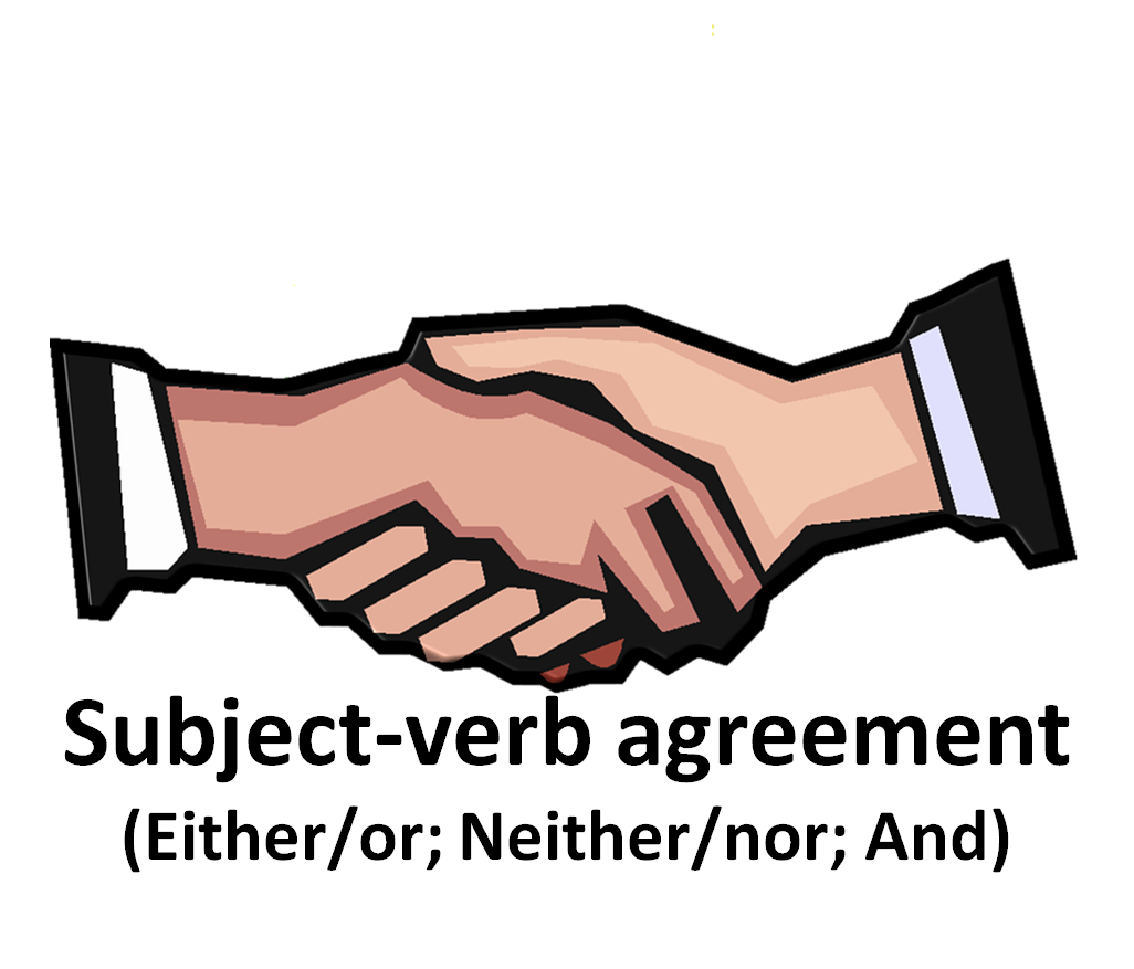 Tip subject verb agreement. Handshake clipart two