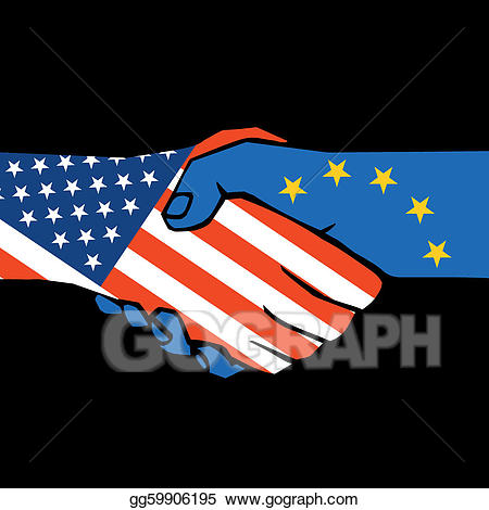 Eps vector of two. Handshake clipart united
