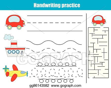 Maze clipart handwriting. Vector illustration practice sheet