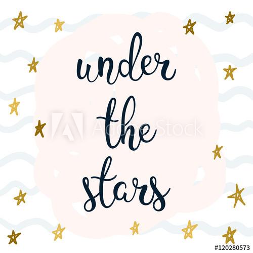 Under the stars handwritten. Handwriting clipart star