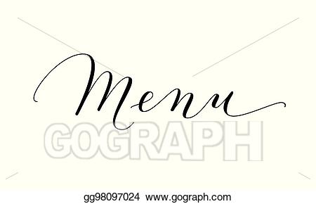 Vector art menu word. Handwriting clipart writing material
