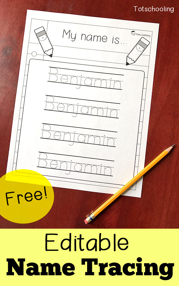 Editable tracing sheet totschooling. Handwriting clipart writing name