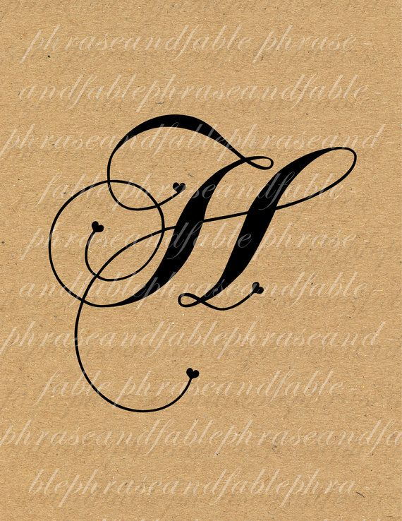 Handwriting clipart writing name. Letter h hearts digital