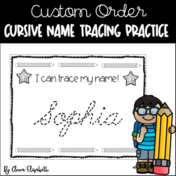 Cursive practice in products. Handwriting clipart writing name